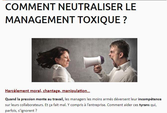 Comment neutraliser le management toxique ?